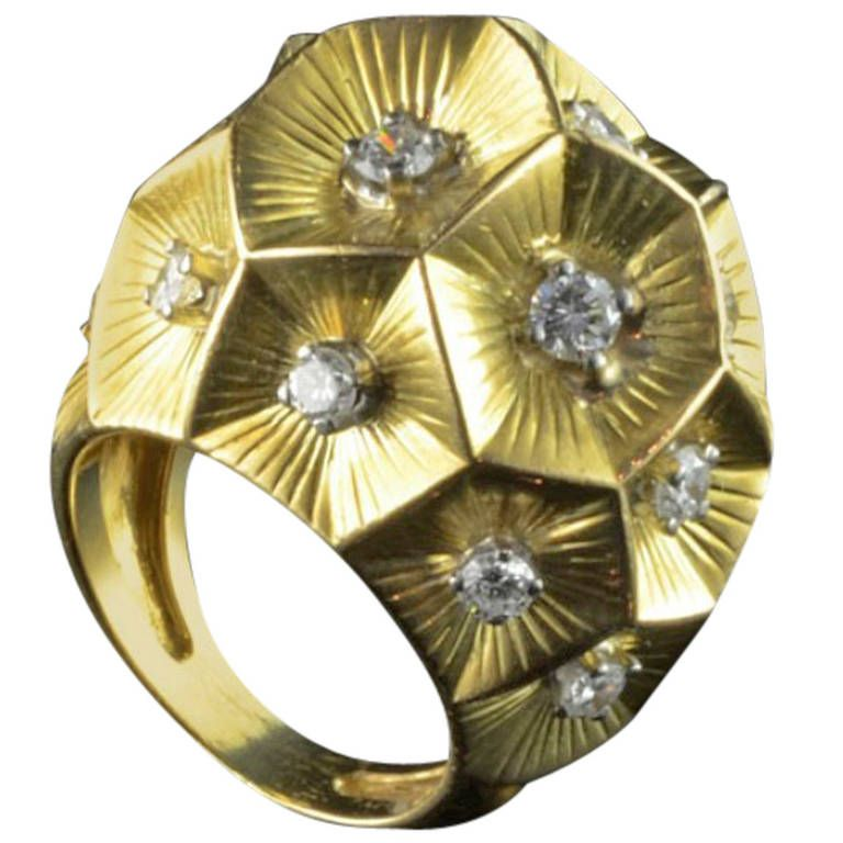David Webb Bombe Style Diamond Yellow Gold Cocktail Ring