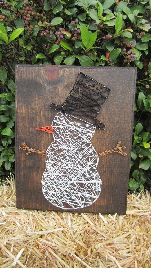 Snowman String Art Sign by StringsbySamantha on Etsy