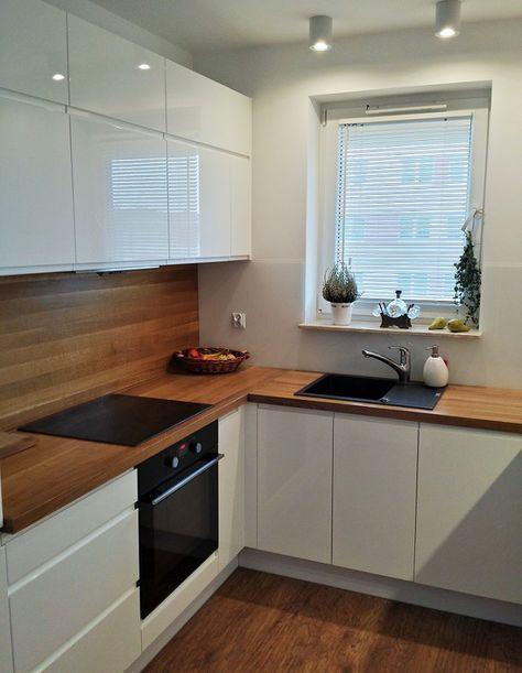 Weiße Fronten Arbeitsplatte Holz unter Fenster Küche Pinterest - arbeitsplatte holz küche