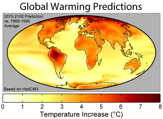 Map of Climate Change Predictions for the 21st Century