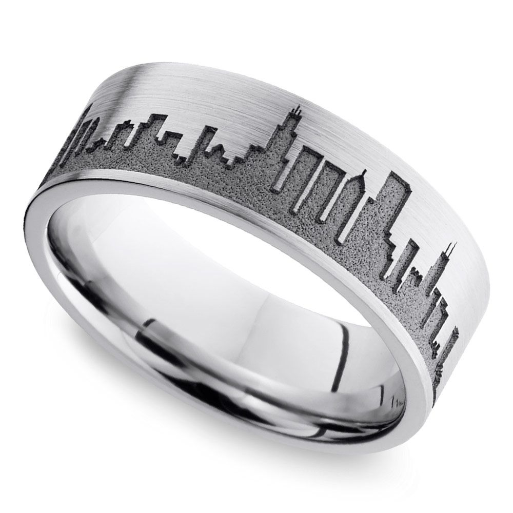 Chicago Skyline Men S Wedding Ring In Cobalt