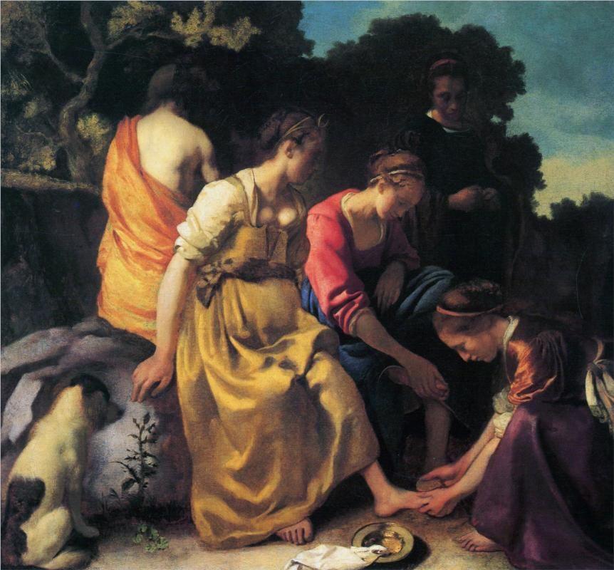 Johannes Vermeer (Dutch 1632–1675) [Baroque, Dutch Golden Age] Diana and her Companions. c. 1653-1654.