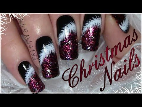 Rote Weihnachtsnägel mit Puschel / Klassisches Weihnachts Nageldesign / Classic Red Christmas Nails #longnails