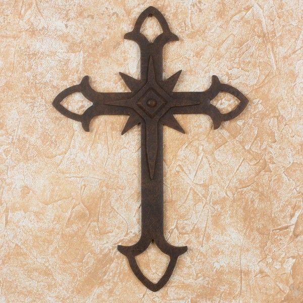 NOVICA Wall Cross in Wrought Iron with Rust Colored Accents ($70
