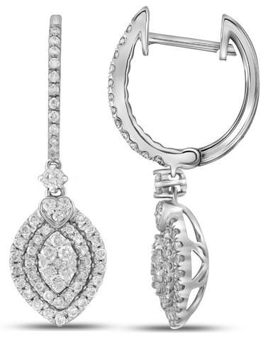 14kt White Gold Womens Round Diamond Double Oval Frame Dangle ...