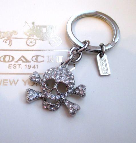 21aaf148 Coach Pave Rhinestone Skull Crossbones Key Fob Keychain Charm RARE ...