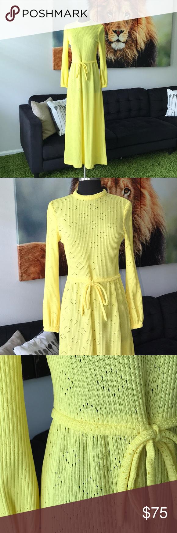 Vintage s yellow oshun long sleeve maxi dress s pinterest long