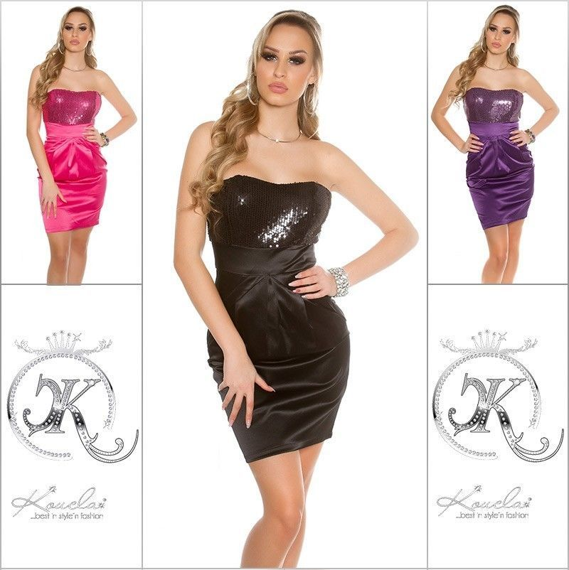 Koucla Dress Cocktail  Kleid Party Minikleid Abendkleid  Pailletten