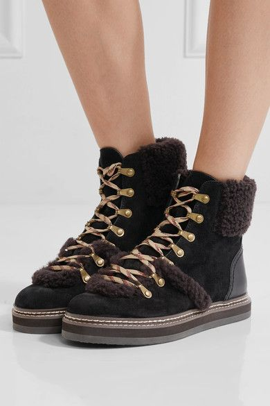 7a833683437 See By Chloé - Shearling-trimmed suede ankle boots in 2019 | holiday ...