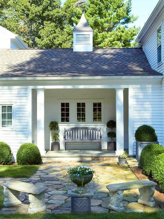 One Story Hip Roof Addition Ideas To Two Story Farmhouse: Farmhouse Exterior, House Exterior, Breezeway