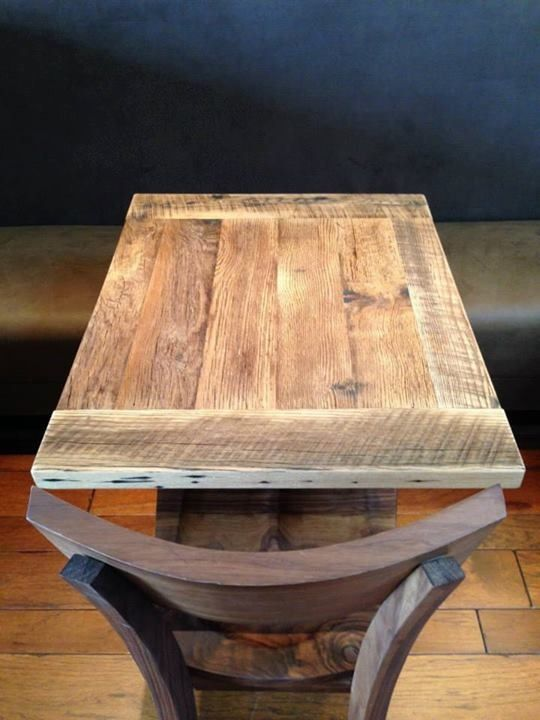 Reclaimed Wood Restaurant Table Top Antique Wire Brushed Oak