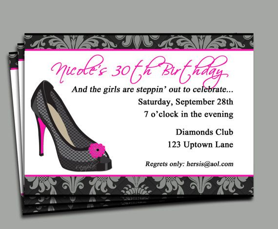 High Heel Invitation Printable or Printed with FREE SHIPPING - Girls ...