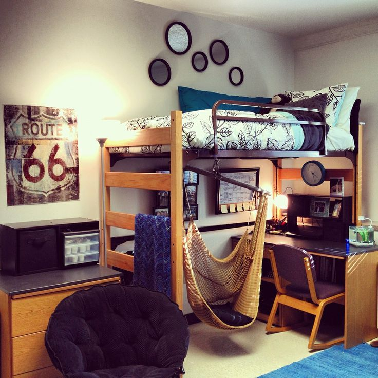 Lofted Dorm Bed With Hammock Chair And Lounge Chair