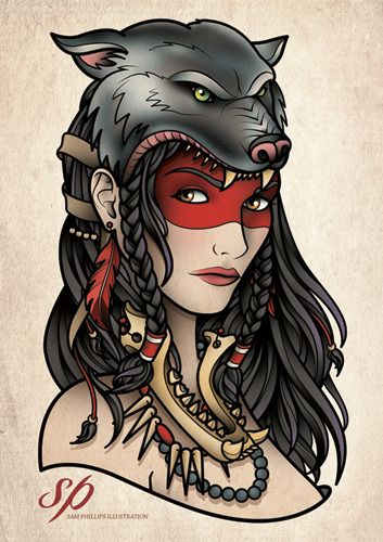 Traditional Tattoo Indian Girl Gypsy Woman Tattoo Gypsy Tattoo Wolf Tattoos