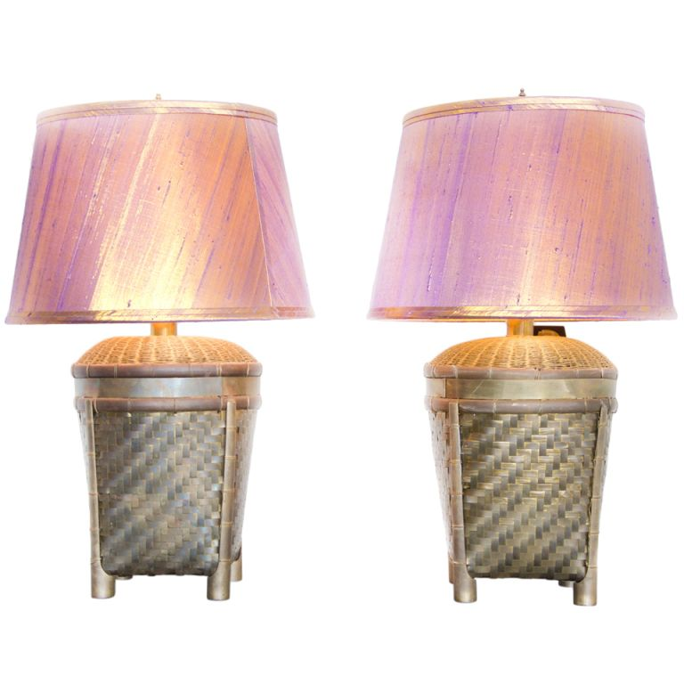 Brass basket chapman table lamps with silk shades desk lamp 1stdibs brass basket table lamps with silk shades aloadofball Image collections