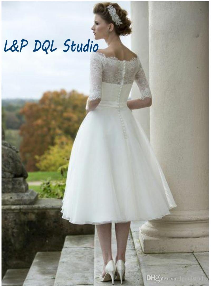 Knee length wedding dress  Vintage Ivory Lace Organza Ball Gown Wedding Dresses Scoop Half