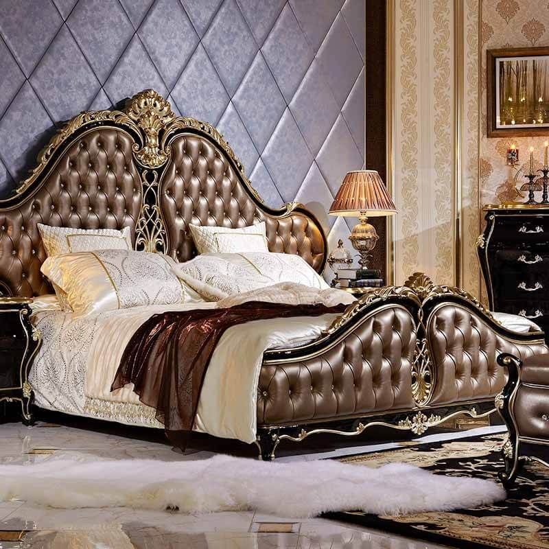 High Quality Traditional Bed Designs Antique Italian Bedroom Furniture