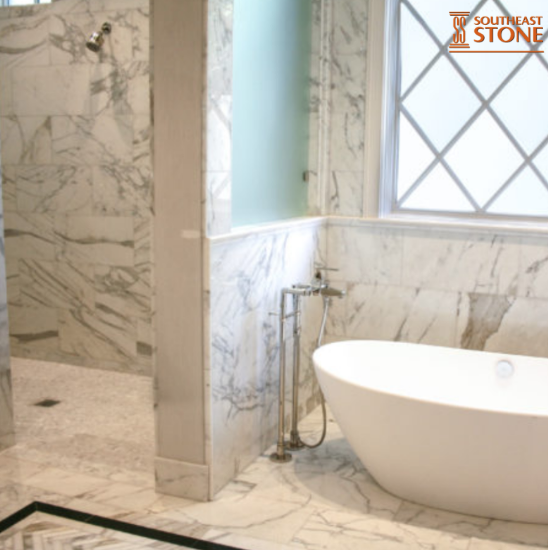 These homeowners selected Calcutta Extra, Marble Tile to fit
