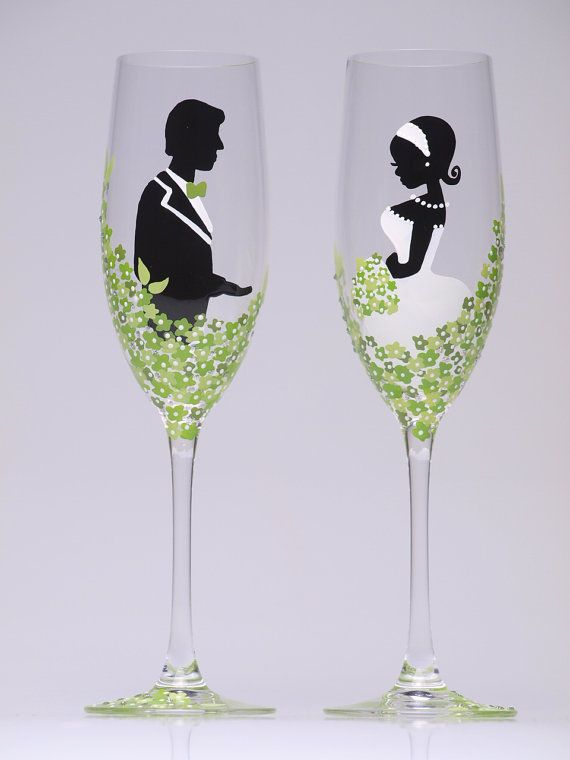 Hand Painted Wedding Toasting Flutes Set Of 2 By Pastinshs On Etsy
