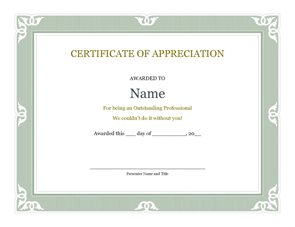 Certificate of recognition for administrative professional this professionally designed certificate of appreciation template features an elegant border along with customizable name date and presenter fields yadclub Images