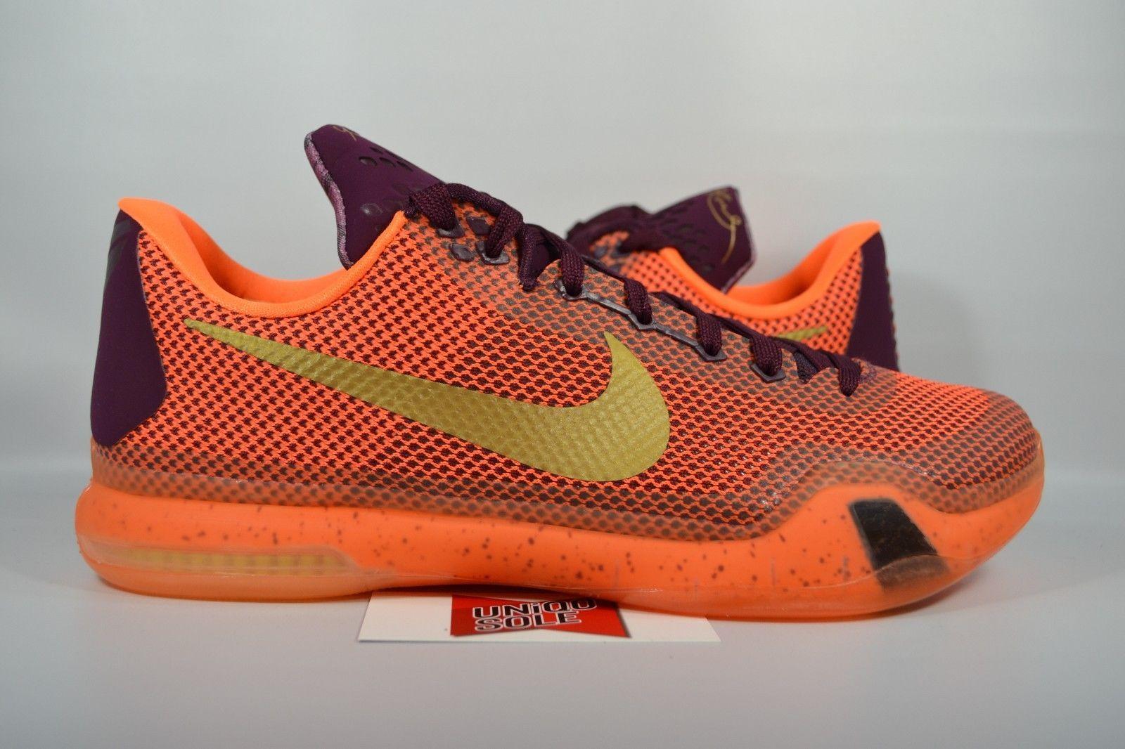 bb60beb3533b NEW Nike Kobe X 10 SILK ROAD MERLOT METALLIC TOTAL ORANGE 705317-676 sz 8.5