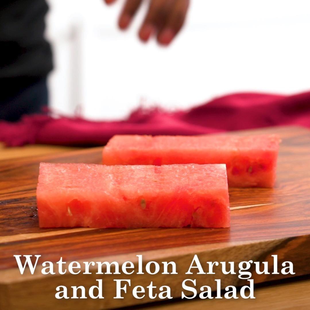 Watermelon Arugula Salad Video In 2020 Fruit Salad Recipes Fresh Vegetable Recipes Delicious Salads