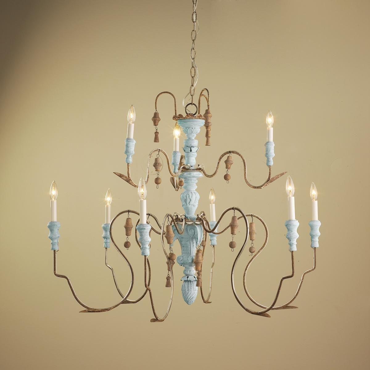 Aqua Grand Manoir Carved Wood Chandelier 9 Light Wood Chandelier Vintage Crystal Chandelier Favorite Lighting