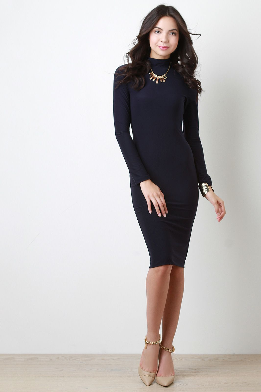 Turtleneck long sleeve midi dress things to wear pinterest