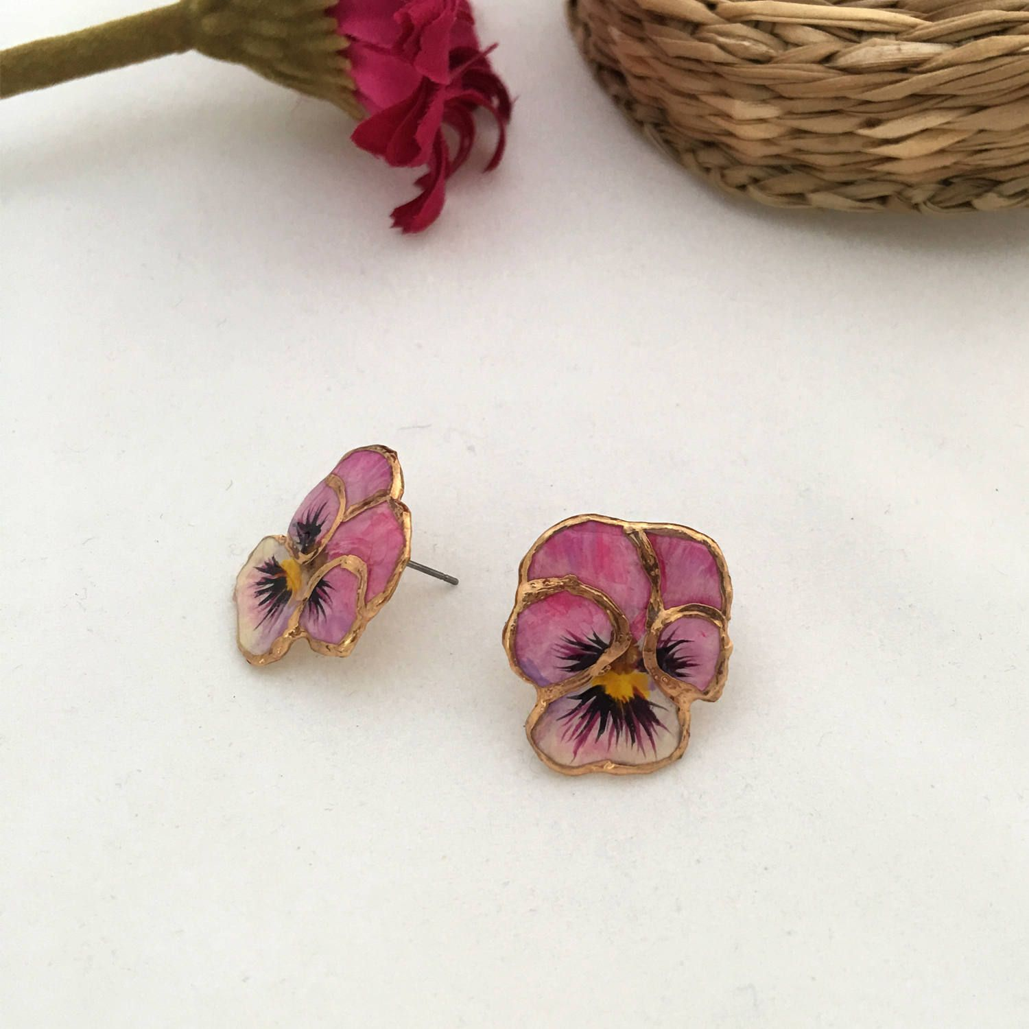 Present For Her Forget Me Not Earrings Pansy Earrings Pansy Flower Earrings Pink Pansy Earring Red Flower Earrings Pink Stud Earrings Flower Earrings Studs