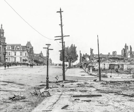 van ness avenue limit of fire san francisco aftermath of the devastating earthquake of april inch glass negative
