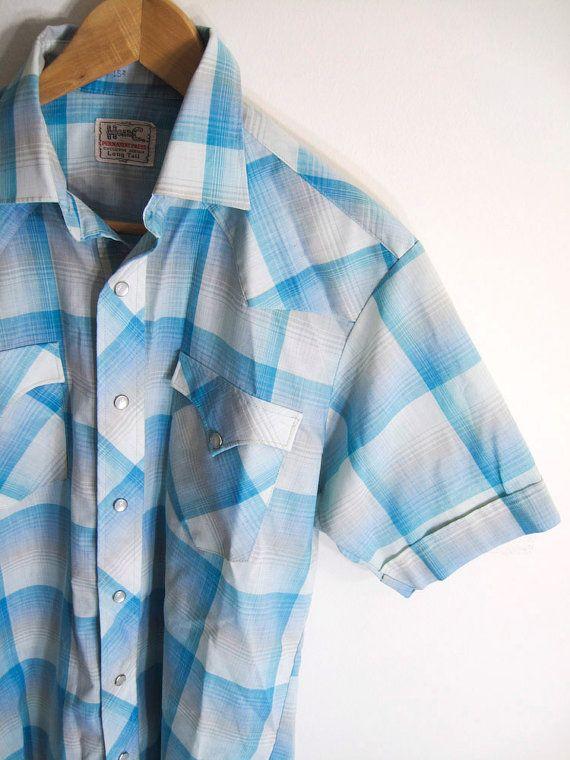 Vintage 70s Men S Baby Blue Plaid Western Pearl Snap Shirt