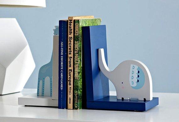 Giraffe and Elephant Animal Wooden Nursery Bookends / Book