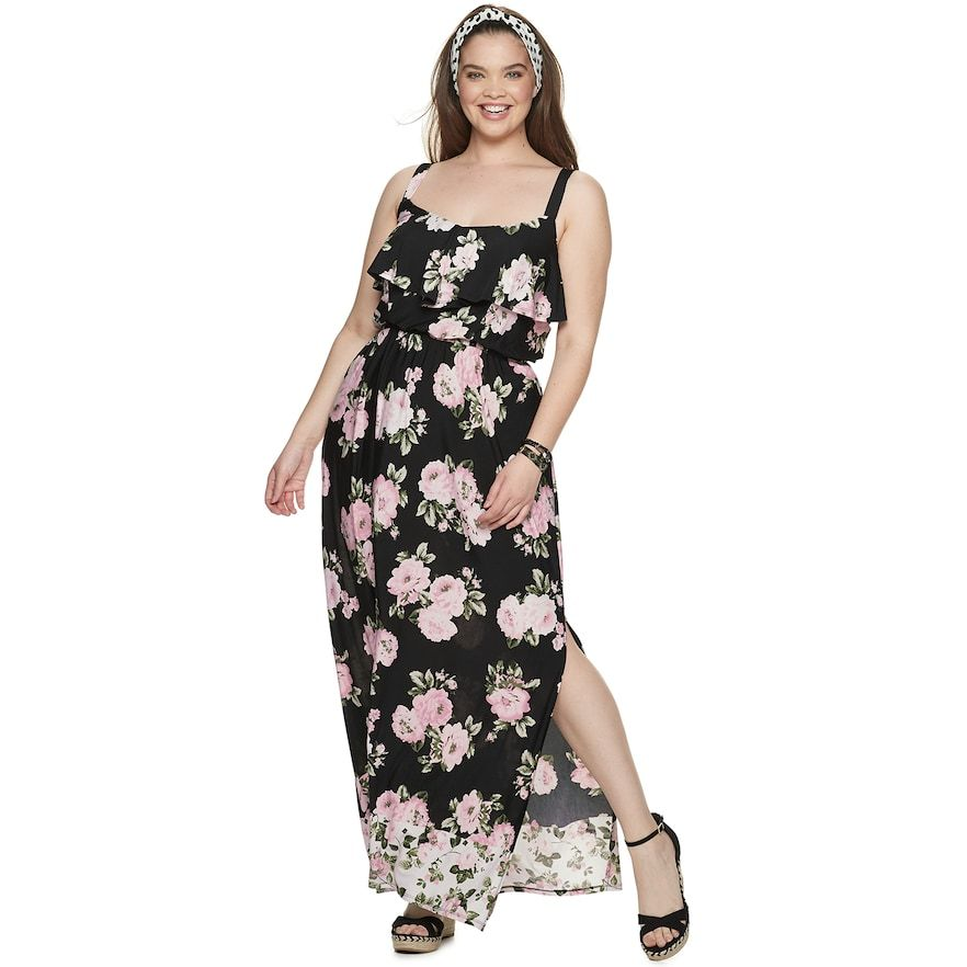 Juniors\' Plus Size Three Pink Hearts Ruffle Front Maxi Dress ...