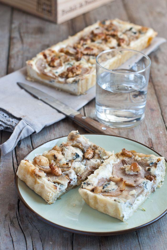 Pear Tart with Mascarpone, Gorgonzola and Walnuts
