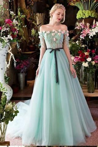 Princesses Romantic Summer Boho Off the shoulder Long Sleeve Blue ...