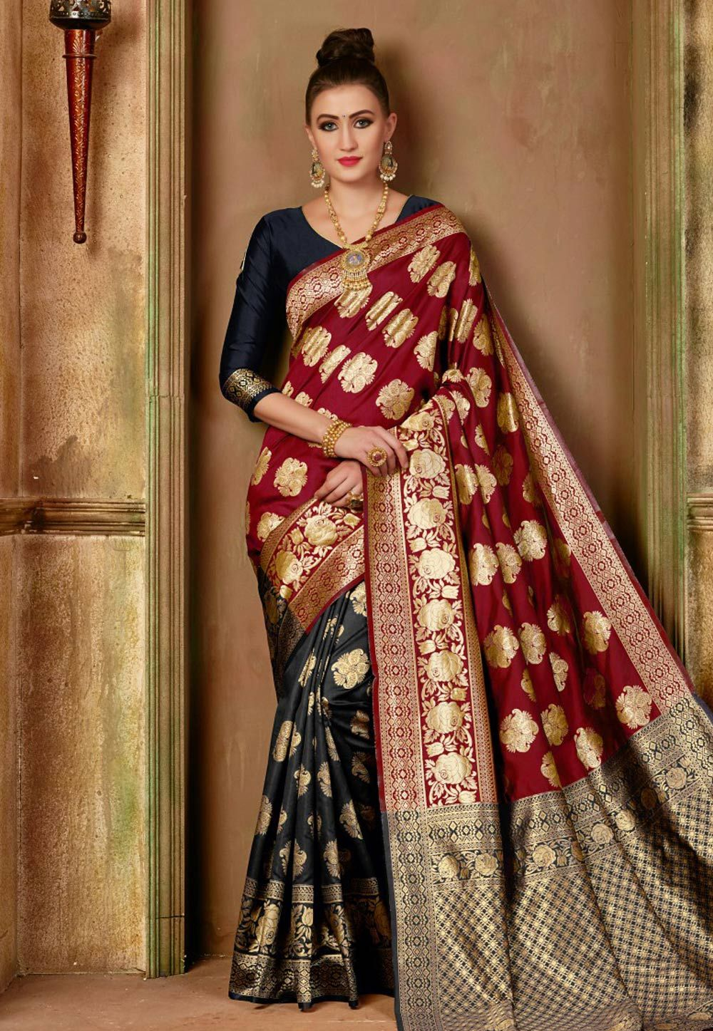 c8de9d10e16 Buy Red Banarasi Silk Saree With Blouse 153730 with blouse online at lowest  price from vast collection of sarees at Indianclothstore.com.