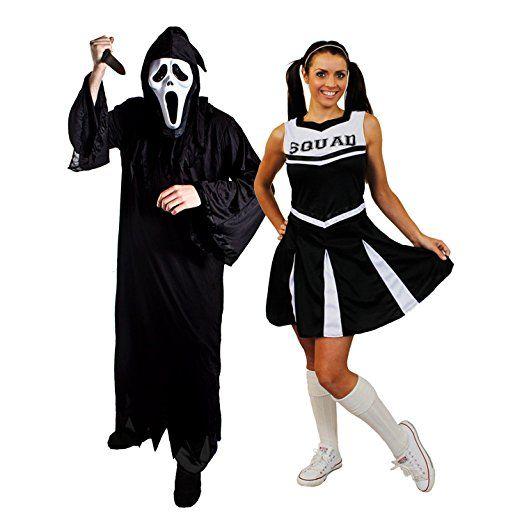 Halloween Paar Schwarz Cheerleader Und Der Schrei Sensenmann Das Perfekte Kostum Fur Grusel Party Und Film Und F Halloween Paare Halloween Halloween Kostum
