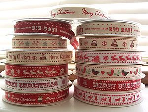 Christmas 15mm Ribbon Three Metre Lengths - ribbon & wrap