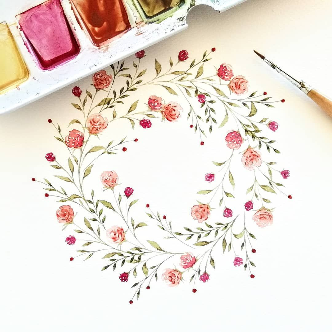 """Photo of Picking an inner flower on Instagram: """"🐿️ #watercolor #illustration #watercolorwreath #autumn #floralwatercolor #floralart #botanicalpainting #botanicalwatercolor # greens…"""""""