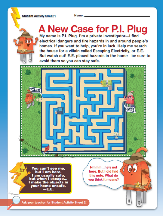 Teach kids about electrical safety with this fun printout