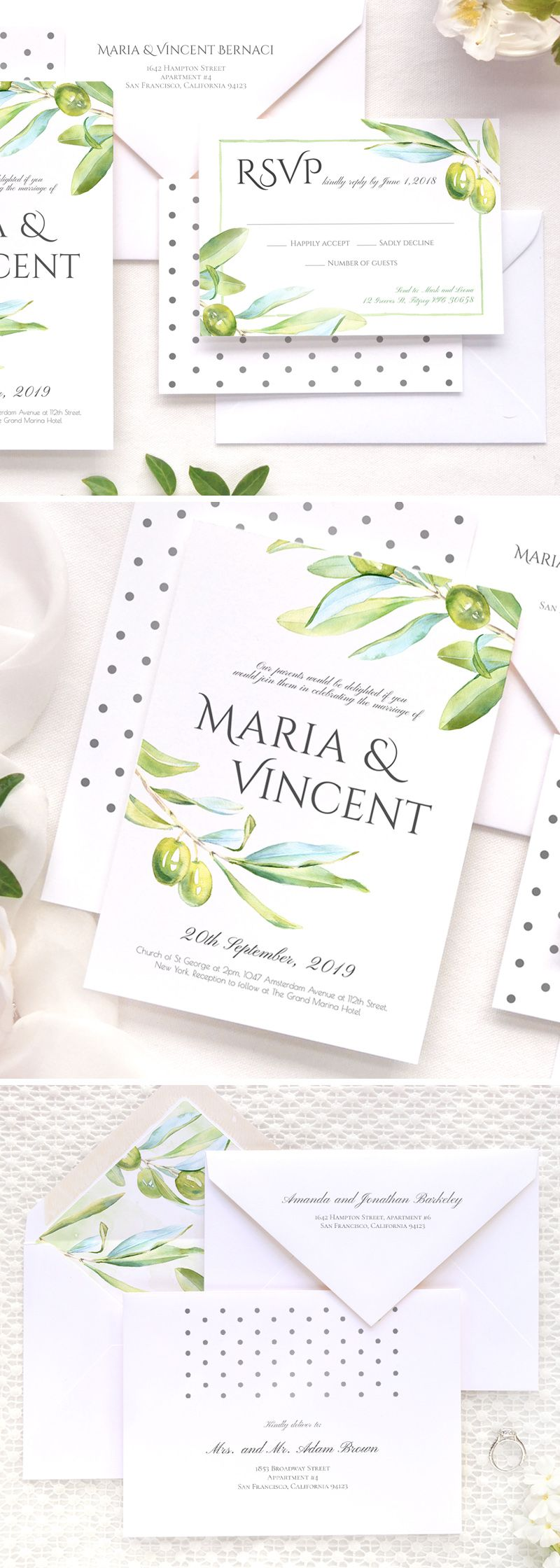 Olive watercolor wedding invitation and RSVP card for Italian ...