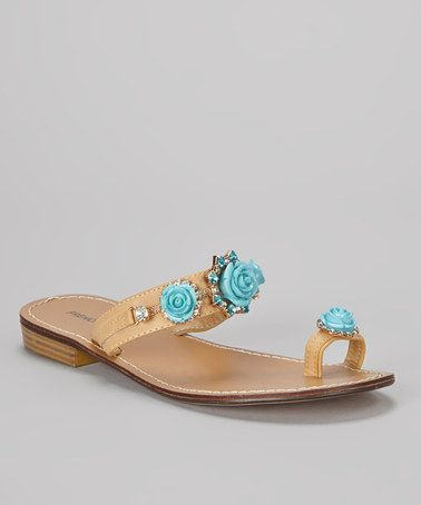 $17.99 Take a look at this Blue Bonita Embellished Sandal by French Kiss on #zulily today!