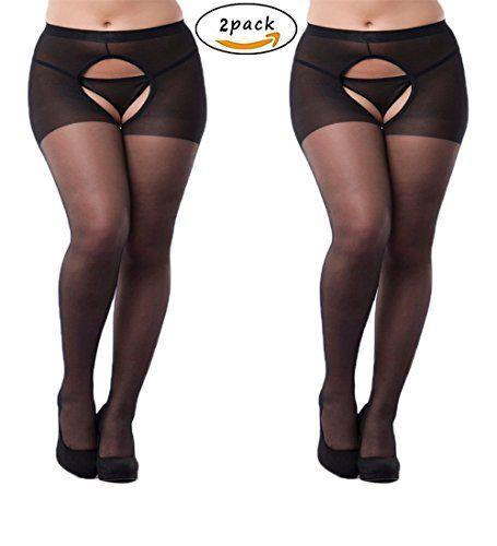 80e1621873e 2-Packs Women Sexy Open Crotch Pantyhose Plus Sized Tights Stocking (Plus  Size
