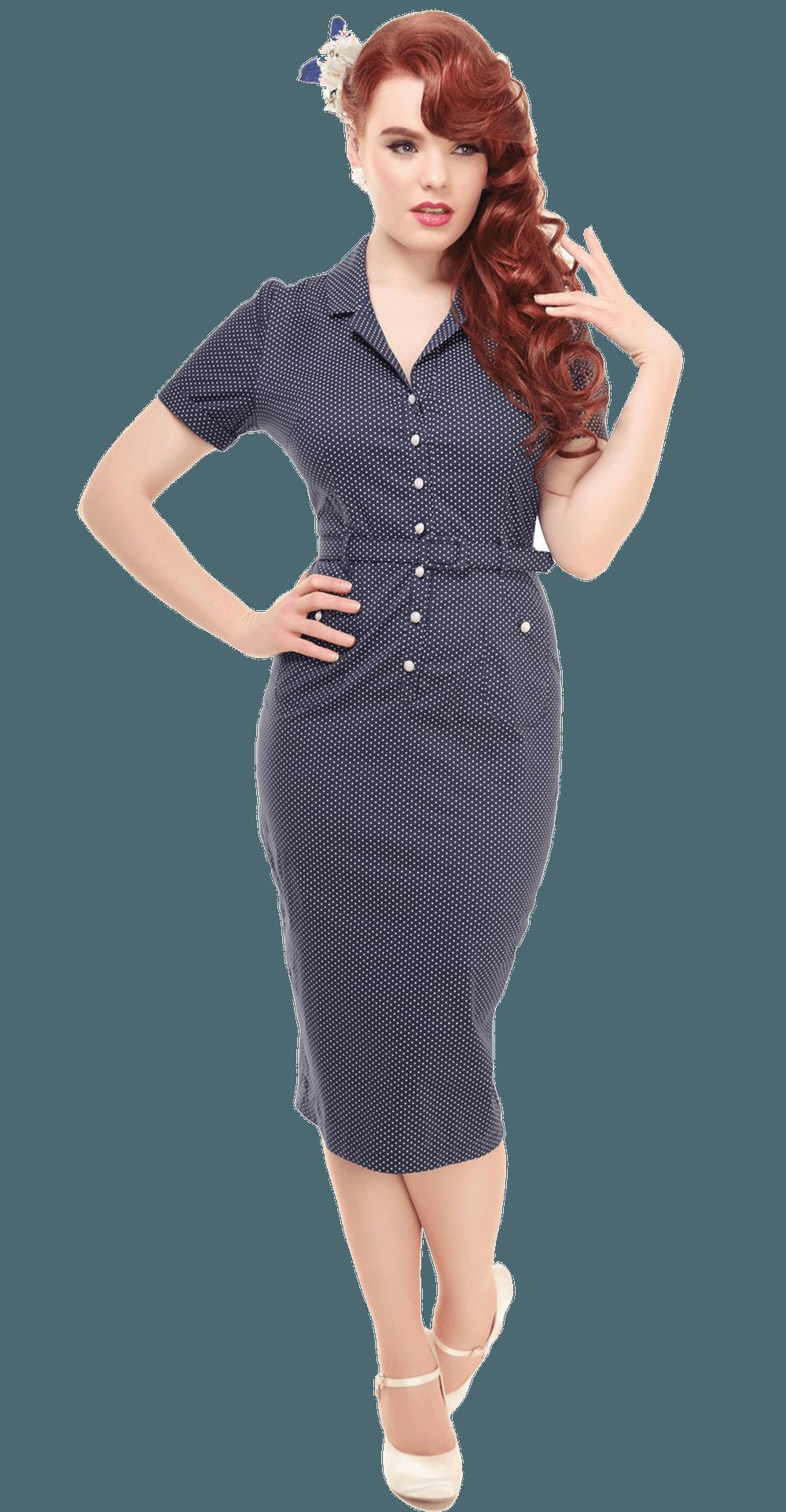 Caterina Mini Polka Dot Pencil Dress via Lady Vintage. Click on the ...