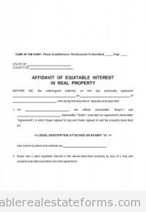 Free Affidavit Of Equitable Interest Printable Real Estate