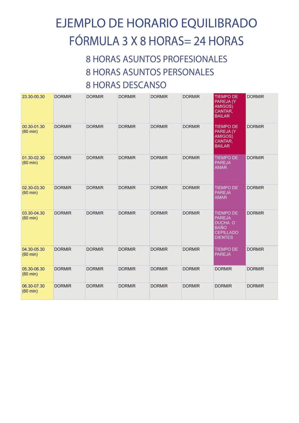 PLAN DE VIDA: MODELO DE HORARIO PERSONAL Y PROFESIONAL-LIFE PLAN ...