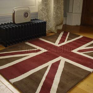 Union Jack Vintage Wool Rugs In Brown