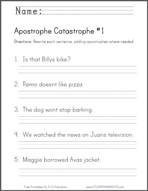 Apostrophe Catastrophe Worksheet 1