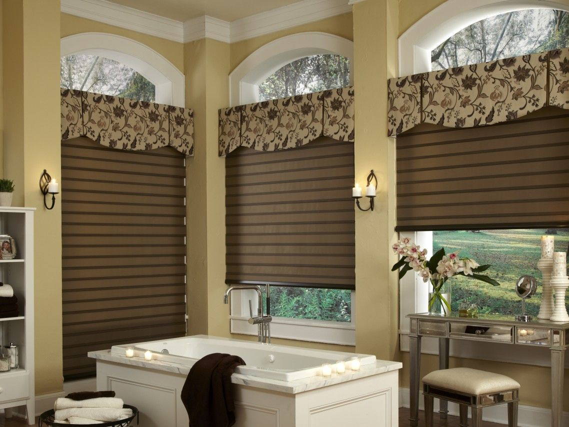 White stained wooden specialty large windows for bathroom with brown