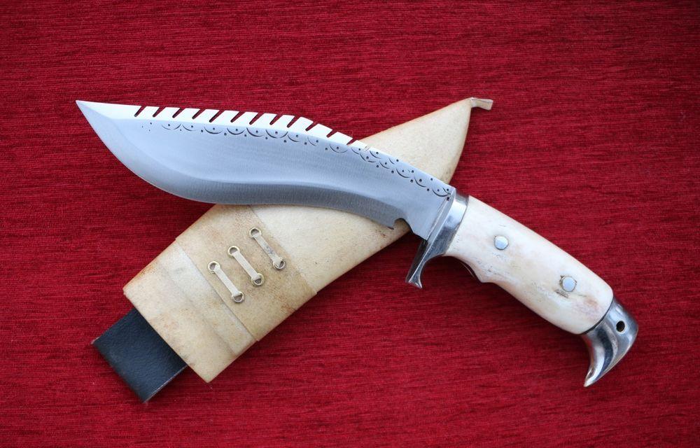 "Gurkha Khukuri Khukri Kukri 6"" Full Tang American Eagle Dragon Spine Bone Handle"